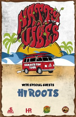 """Graphic flyer promoting Natural Vibrations' """"Summer Fun Tour"""" with HI Roots."""