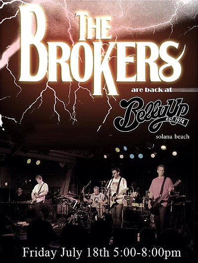 Promotional flyer for The Brokers performing at the Belly Up Tavern for Happy Hour.