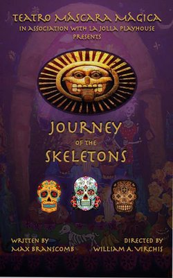 """Promotional flyer for Teatro Máscara Mágica's """"Journey Of The Skeletons"""" at La Jolla Playhouse."""