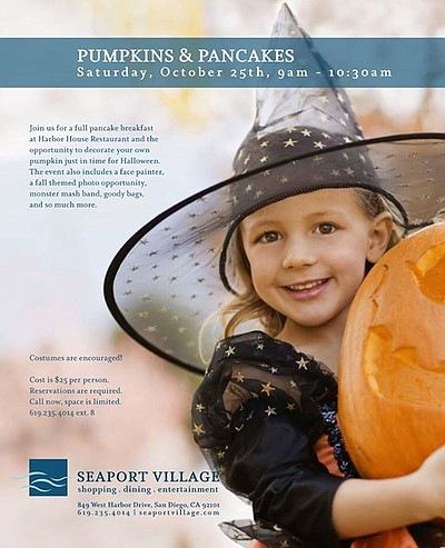 Promotional graphic for Pancakes & Pumpkins at Seaport Village. Courtesy of Seaport Village.