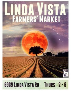 Promotional graphic for the Linda Vista Farmers' Market.