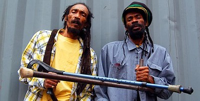 Promotional photo of reggae duo, Israel Vibration.