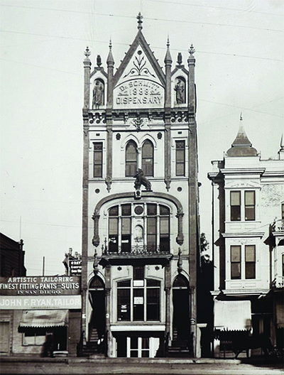 The Schmitt Dispensary Building, circa 1903. Courtesy of Gaslamp Museum at the William Heath Davis House.