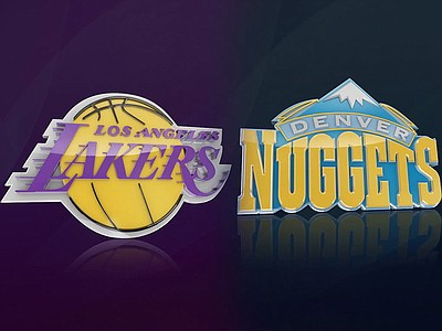 Graphic logos for the Los Angeles Lakers and the Denver Nuggets.