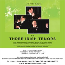 Promotional graphic for the Three Irish Tenors performance on March 13, 2014 at 8 p.m.