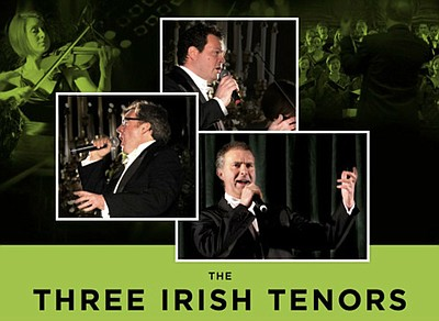 Promotional graphic for the performance featuring the Three Irish Tenors on Saturday, March 15th at 7pm at the Poway Performing Arts Center. Courtesy of Poway High Foundation