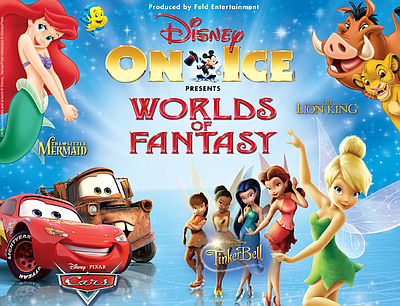 "Promotional graphic for Disney On Ice ""Worlds of Fantasy""."