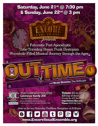 "Promotional flyer for ""Out Of Time"" Presented By Encore Vocal Ensemble."