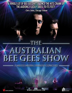 Promotional graphic for The Australian Bee Gees Show. Courtesy of Short Girl Productions, annerin productions & SPI Entertainment