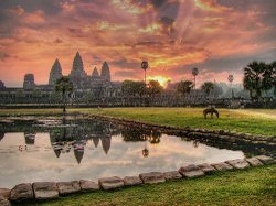 Graphic image of Angkor Wat, a temple in Northern Cambodia.