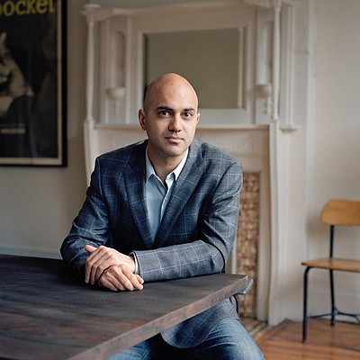 Graphic image of Playwright Ayad Akhtar.