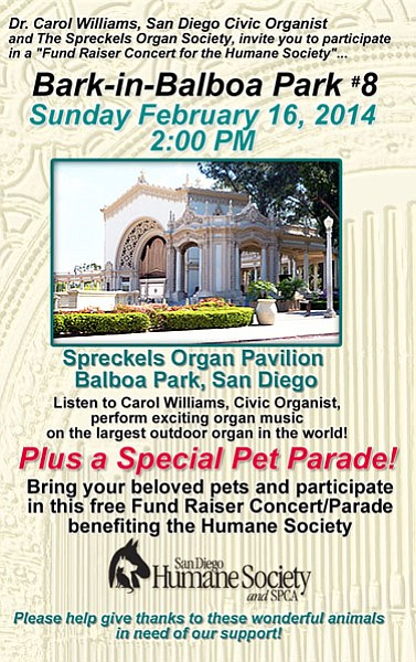 Promotional graphic for Bark In Balboa Park 8. Courtesy of Spreckels Organ Society.