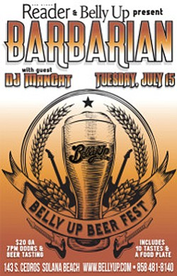 Promotional flyer for Beer Fest Feat. Barbarian at the Belly Up Tavern.