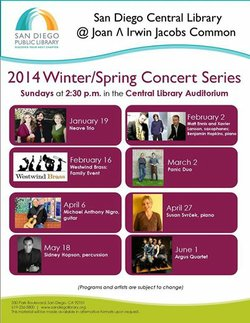 Promotional Flyer for SDPL Central Library's Winter/Spring Concert Series. Courtesy of San Diego Central Library.