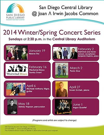 Promotional Flyer for SDPL Central Library's Winter/Spring Concert Series.