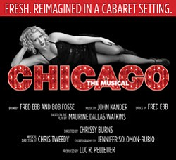"Promotional graphic for ""Chicago The Musical"" performing at the Coronado Playhouse. Courtesy image of the Coronado Playhouse."