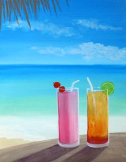 Wine and canvas cocktails on the beach september 28 for Paint and cocktails