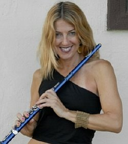 Graphic image of Flutist and Saxophonist, Adrienne Nims.