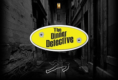 Promotional graphic for The Dinner Detective Murder Myste...