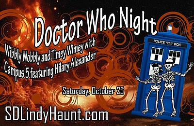 Promotional graphic for Doctor Who Night at San Diego Lindy Haunt. Courtesy of Dan & Svea's San Diego Lindy.