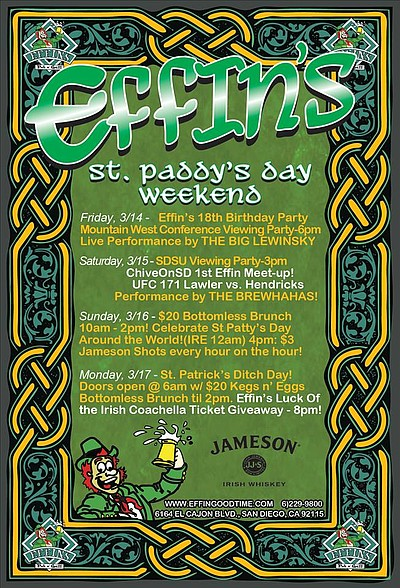 Promotional graphic for St. Paddy's Day Weekend at Effin's.