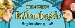 "Promotional graphic for ""Fallen Angels"" at North Coast Repertory Theatre."