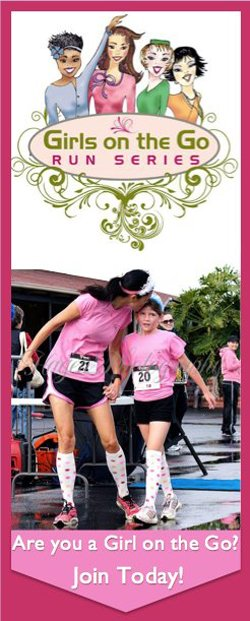 Promotional graphic for the Girls On The Half Marathon, 10K, and 5K.