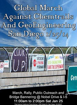 Promotional graphic for Global March Against Chemtrails & Geoengineering on January 25, 2015.
