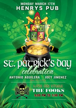 Promotional graphic for the St. Patrick's Day celebration featuring The Fooks. Courtesy of Henry's Pub.