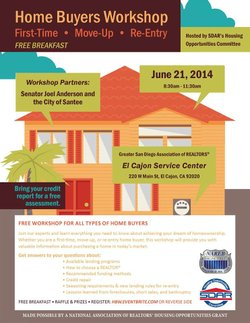 Promotional graphic for the Home Buyers Workshop on June 21, 2014.