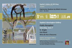 "Promotional graphic for ""I Am A Lucky Man: Expressive-Realism"" by Mitch Gricman exhibit at Sophie's Gallery."
