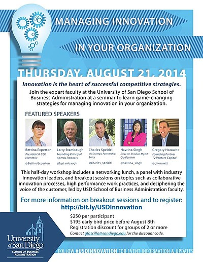 Promotional graphic for the Managing Innovation In Your Organization Seminar. Courtesy of University of San Diego.