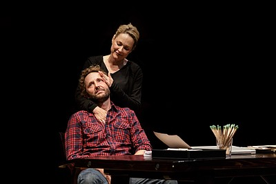 "Kate Blumberg as ""Miriam"" and Todd Weeks as ""Daniel"" in La Jolla Playhouse's world-premiere production of ""Kingdom City,"" by Sheri Wilner, directed by Jackson Gay, running September 4 – October 5, 2014 in the Sheila and Hughes Potiker Theatre. Courtesy of La Jolla Playhouse"