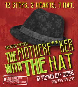 "Promotional graphic for Cygnet Theatre's ""The Motherf**ker with the Hat"" By Stephen Adly Guirgis."