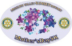 Mission Valley Sunset Rotary's Mother's Day 5K logo.