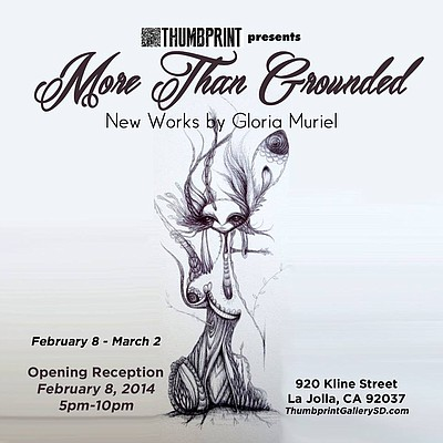 "Promotional graphic for Gloria Muriel's ""More Than Grounded"" exhibit. Courtesy of Thumbprint Gallery."