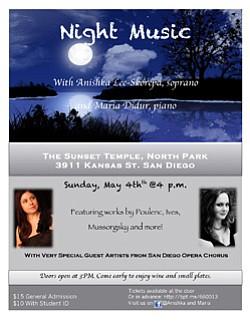 Promotional flyer for 'Night Music' at Sunset Temple.