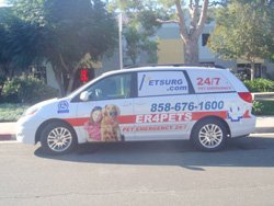Promotional photo of PETSURG & ER4PETS van outside the clinic.