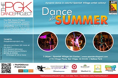 "Promotional graphic for PGK Dance Project's ""Dance into Summer"" on June 27, 2014."