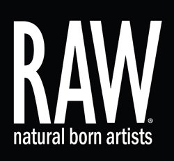 Graphic logo for RAW:natural born artists.