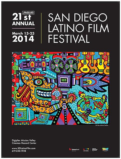 Promotional graphic for the Latino Film Festival: March 13-23, 2014.
