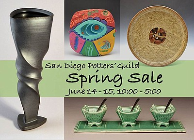Promotional graphic for San Diego Potters' Guild's June Patio Show & Sale on Saturday, June 14th & Sunday, June 15th, 2014.