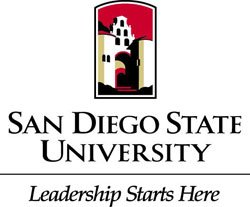 """Promotional logo for San Diego State University, """"Leadership Starts Here""""."""