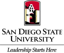 "Promotional logo for San Diego State University, ""Leadership Starts Here""."