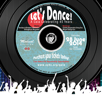 Promotional graphic for the San Ysidro Health Center Let's Dance! Gala taking place June 28th, 2014. Courtesy of San Ysidro Health Center.