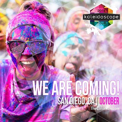 Promotional graphic for The Color Run San Diego 2014. Cou...
