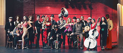 Promotional photo of 19 piece orchestra and cabaret, Vaud and the Villains.