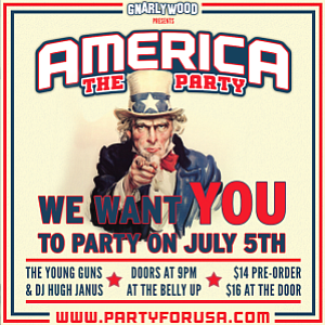 Promotional flyer for Gnarlywood's America...The Party Feat. The Young Guns.