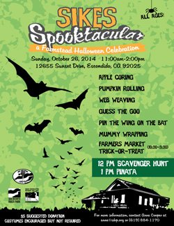 Promotional graphic for Sikes Spook-tacular on October 26th, 2014.