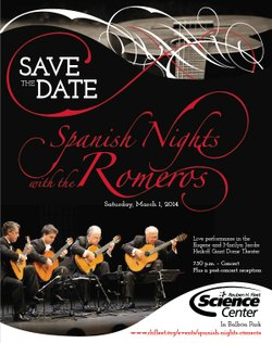 Promotional flyer for Spanish Nights With The Romeros at the Reuben H Fleet Science Center on March 1st. Courtesy image of the Reuben H Fleet Science Center.